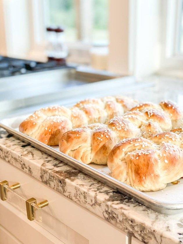 cardamom braid bread on counter
