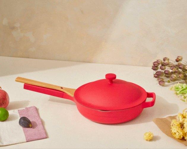 red pan near food ingredients