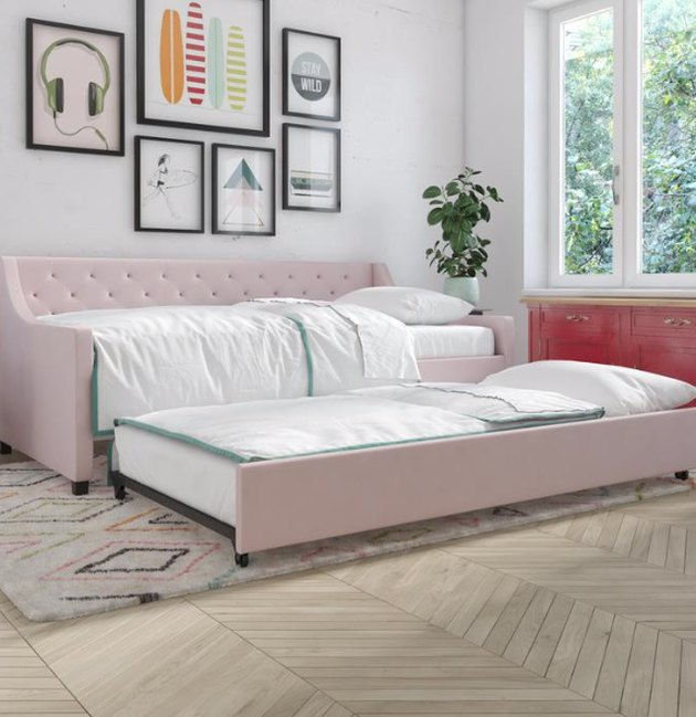 Small Space Daybed Ideas with Pink trundle bed, rug, art, plant.