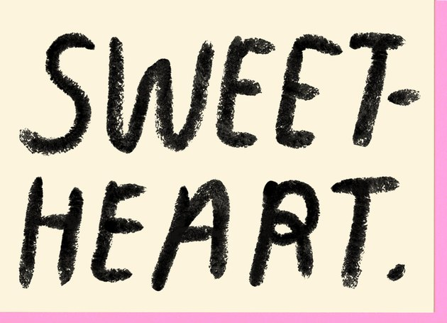 "card with the words ""sweet. heart."""