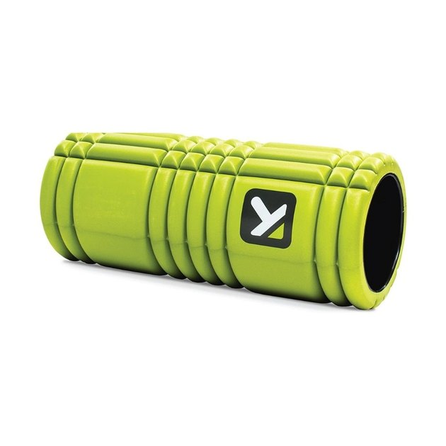 lime green foam roller with textured surface