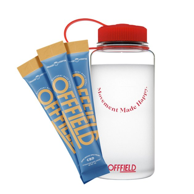 blue and orange hydration packets and clear water bottle with red top