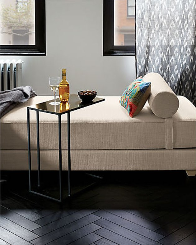 Small Space Daybed Ideas with Daybed, end table, curtain, bolster pillow, pillow, cocktail.
