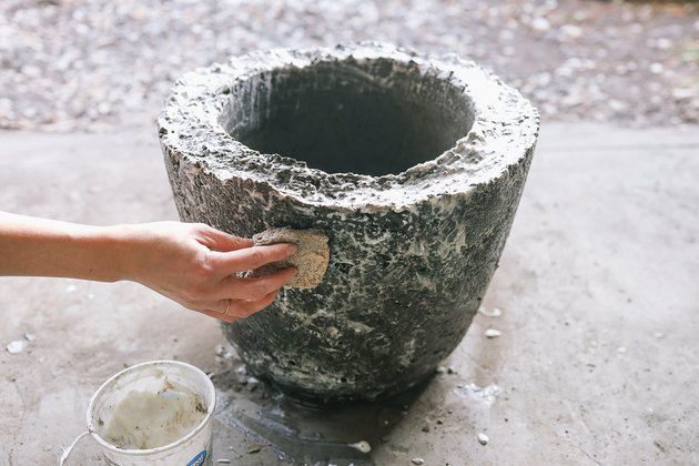 Applying plain yogurt to hypertufa planter with a sponge