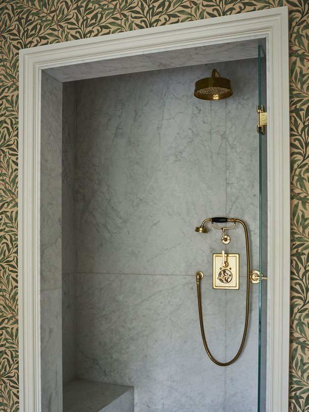 traditional shower fixtures with brass handheld shower