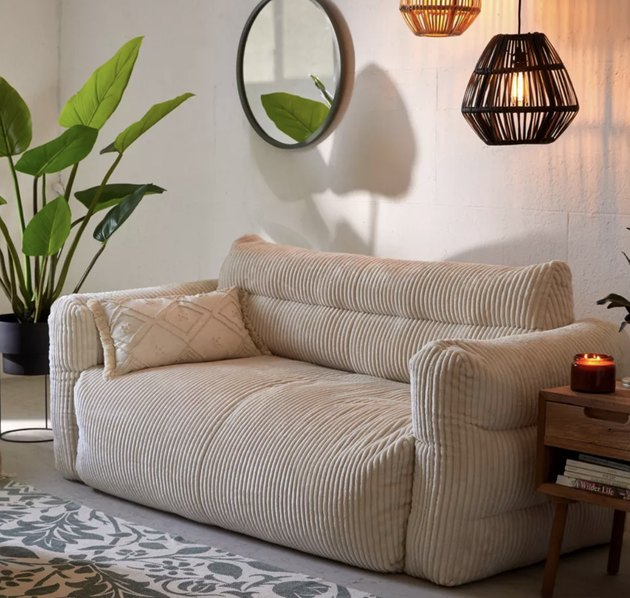 tan floor loveseats for small spaces from Urban Outfitters