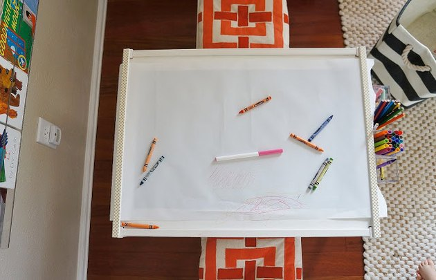 Lack art table with crayons and markers