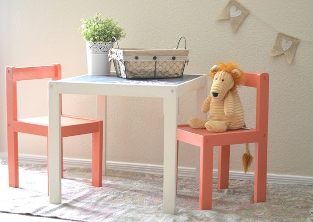 IKEA lack table and chairs with teddy bear