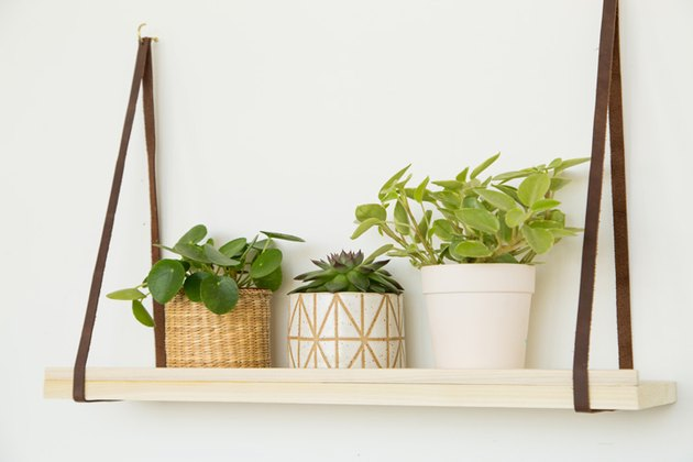DIY wood and leather hanging plant shelf