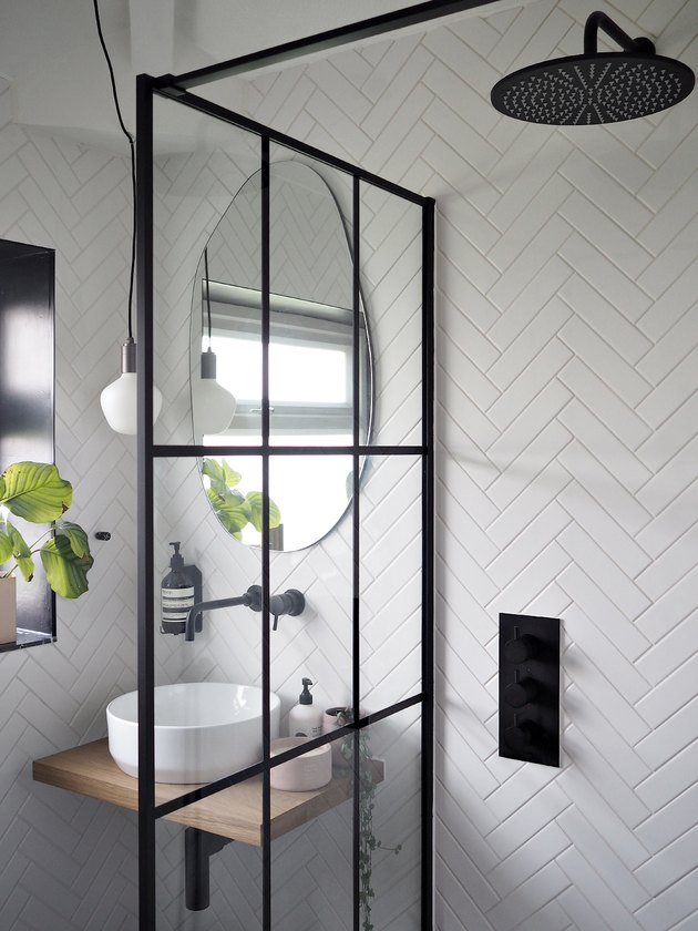 Bathroom Trends 2021 monochrome bathroom with crittall shower screen