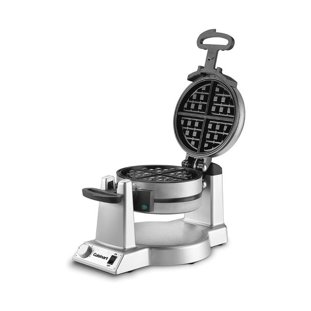 silver and black waffle maker