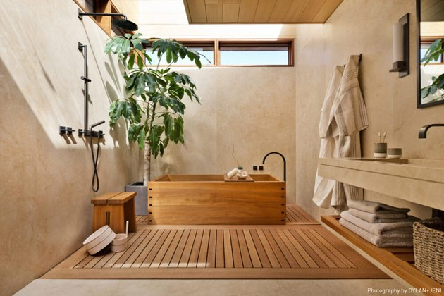 Bathroom Trends 2021 japandi style bathroom with wooden bathtub