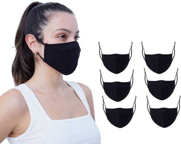 Simlu 6-Pack Fabric Face Masks in black