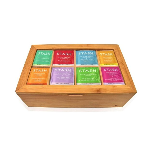 colorful tea bags in wooden box