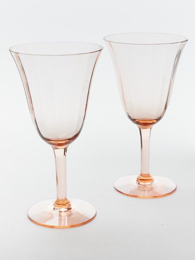 Vintage pink wine glasses