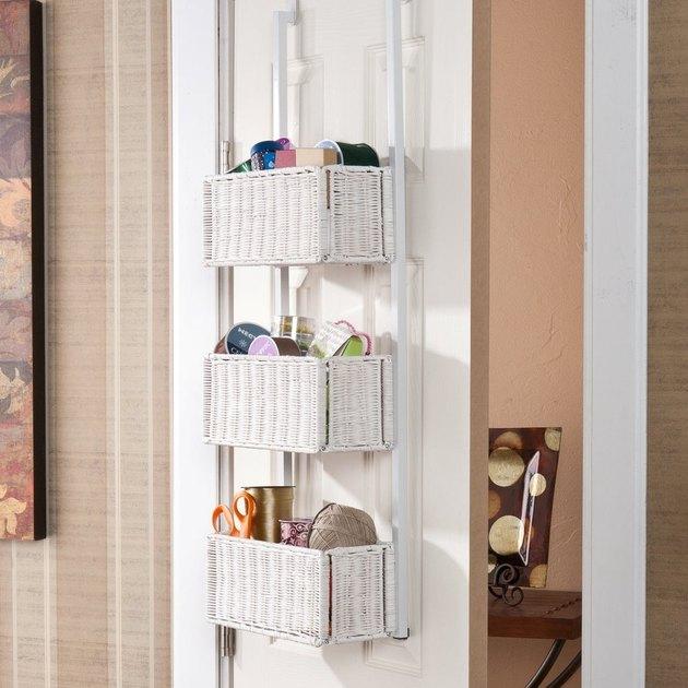 Burnet White 3-Tier Over-the-Door Basket Storage