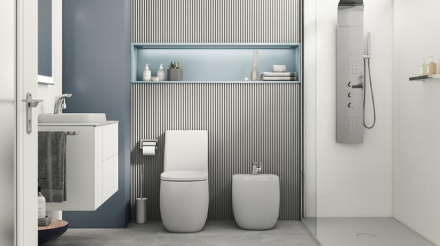 Bathroom Trends 2021 smart bathroom with fluted wall