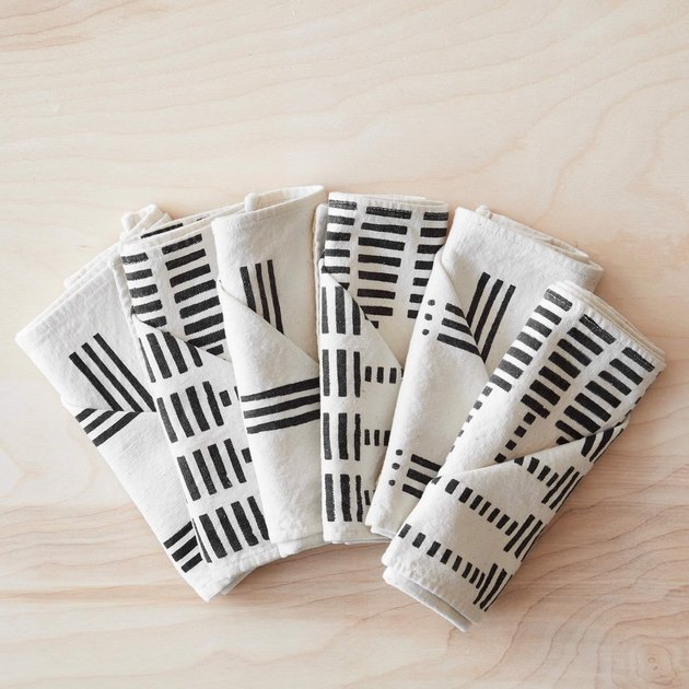 black and white line pattern napkins