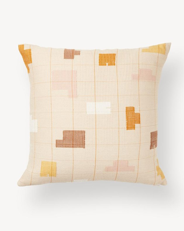 throw pillow with shapes pattern
