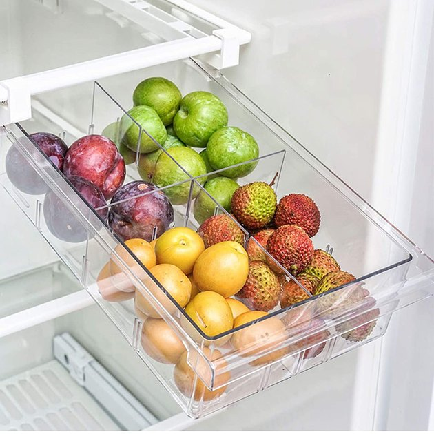 sliding fridge drawer with removable partition