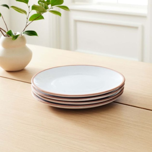 plates on a wood table