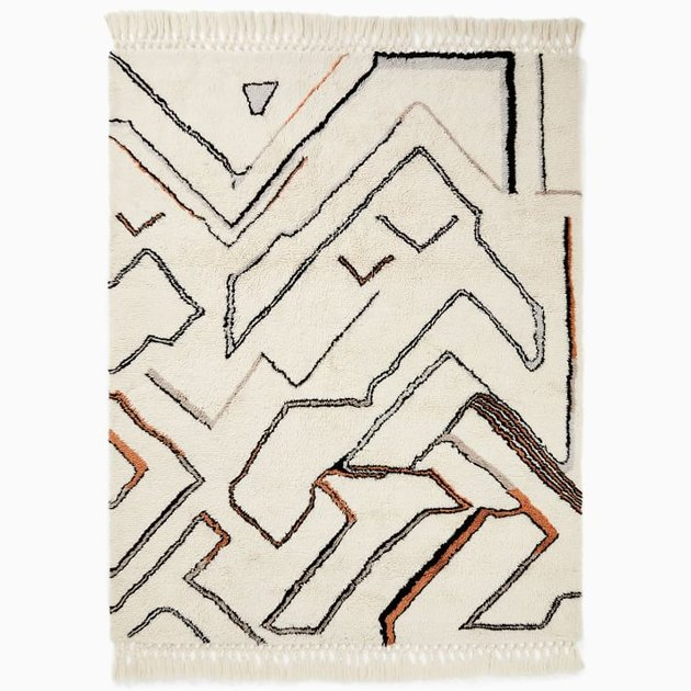 shag rug with artsy pattern