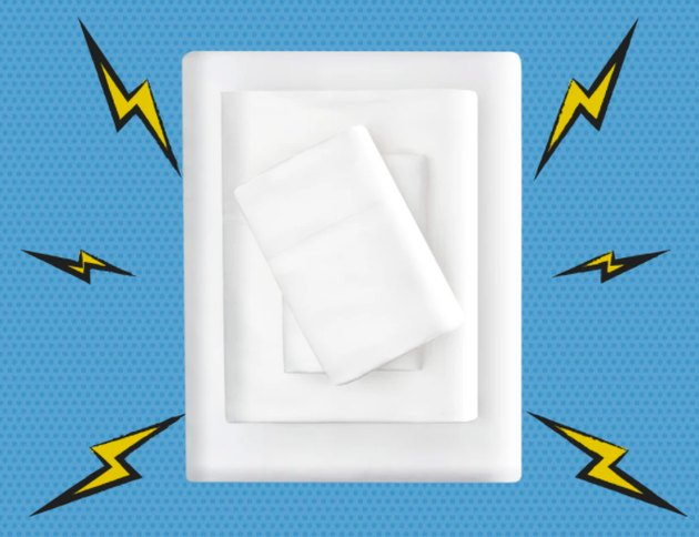 Picture of white sheets with cartoon lightning bolts