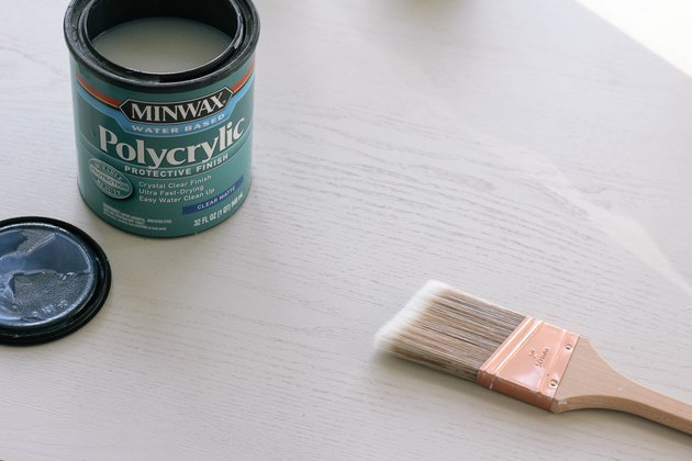 Painting clear matte topcoat onto surface of painted desk