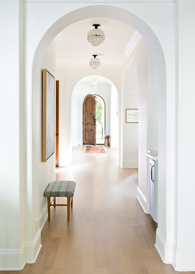 Contemporary Foyer Lighting in entryway designed by Kate Lester Interiors