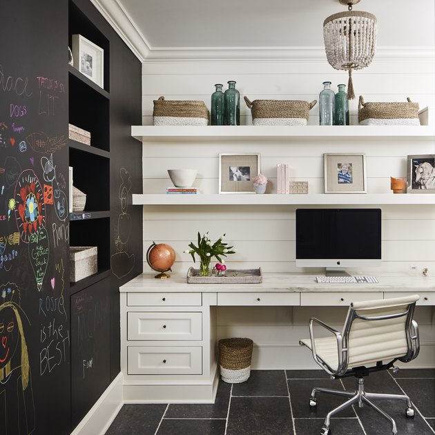Desk Organization Ideas with Organized home office desk with drawers and open shelves