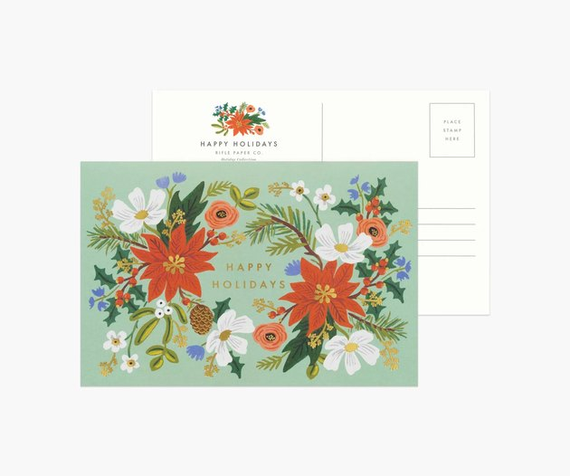 floral holiday postcard, shown from the front and back