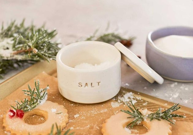 white ceramic salt cellar