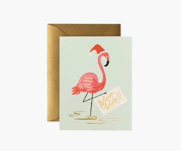 """flamingo with """"warm wishes"""" greeting card"""