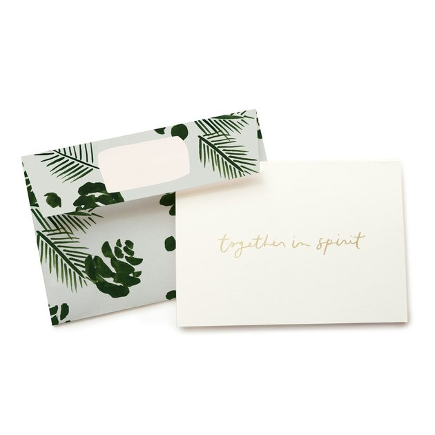 """leaf pattern envelope and greeting card that reads """"together in spirit"""""""