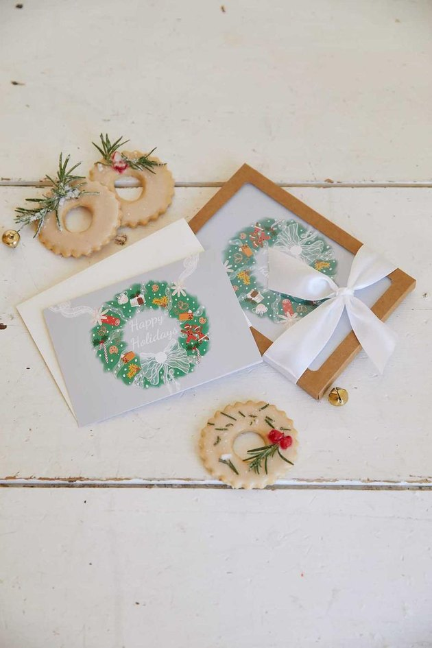 holiday wreath cards set