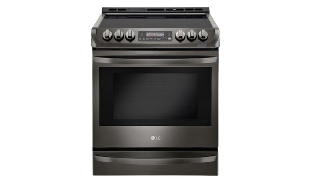 black stainless steel flat top electric stove