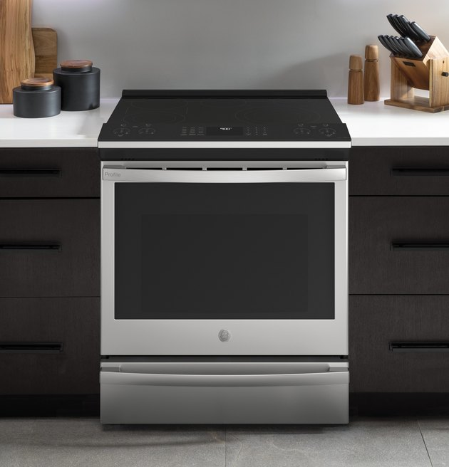 flat top electric stove in a kitchen