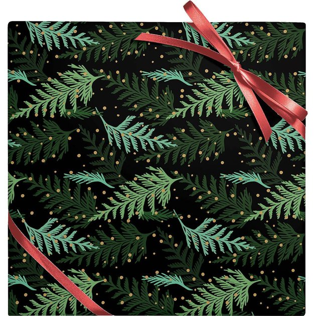 Paper Source Holiday Cedar Branches Wrapping Paper, $9.95