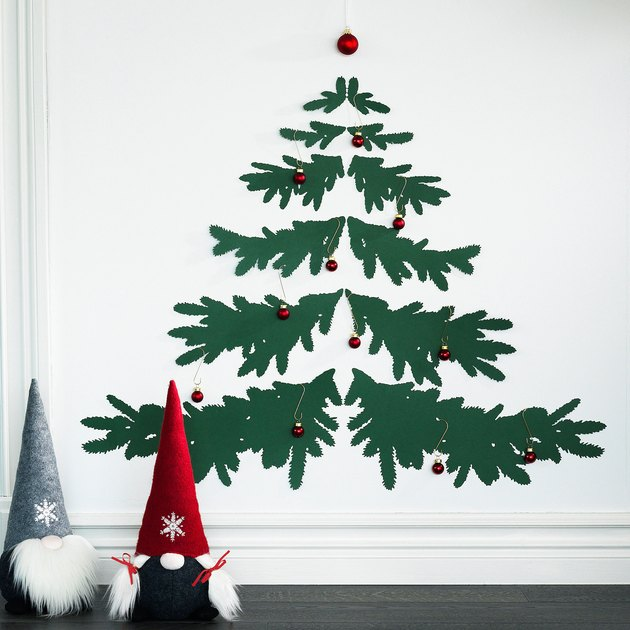 white wall with tree decal