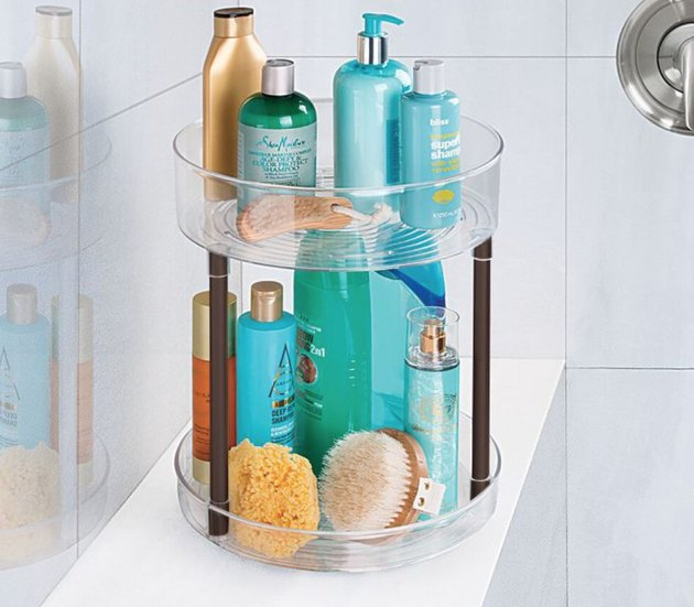 Makeup Organizer Ideas with Two tiered plastic makeup organizer.