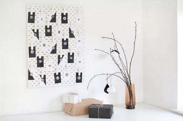 Modern Advent Calendar Using an IKEA Pegboard