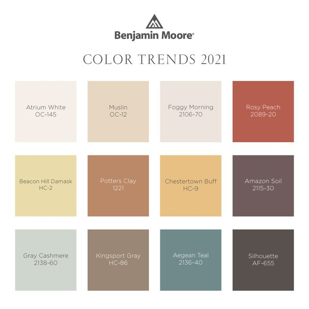 """graphic with title """"Benjamin Moore Color Trends 2021"""""""