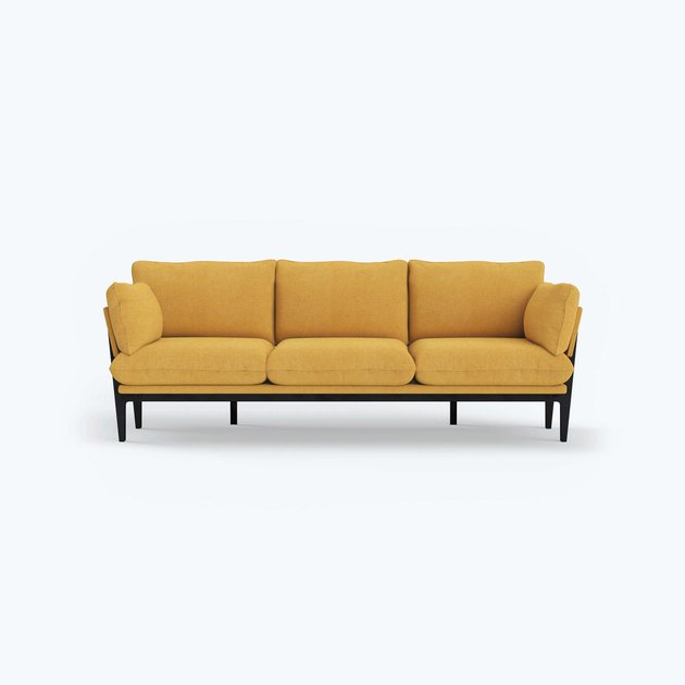 yellow three seater eco-friendly couch from Floyd Home