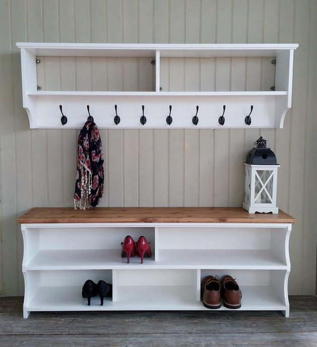 shoe storage bench painted white