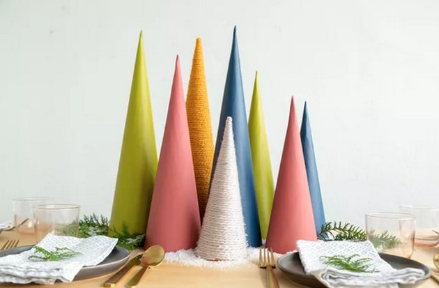 Colored paper and cardboard Christmas trees