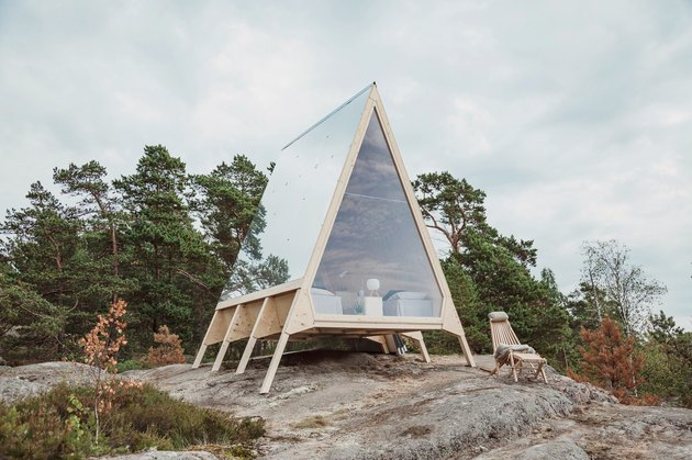 eco-friendly home design for A-frame cabin with aluminum roof