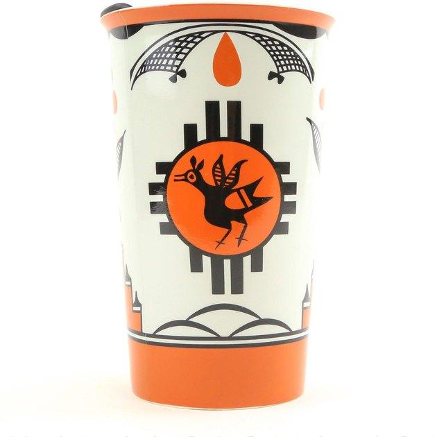 ceramic travel blue with orange and black pattern