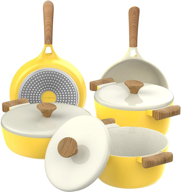yellow ceramic pots and pans