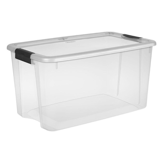 Clear plastic storage container with black handles