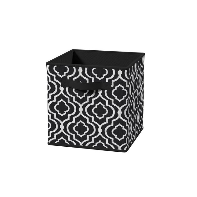Black and white patterned fabric storage container with handles